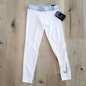 NIKE Boy Pro Dri-Fit White Leggings